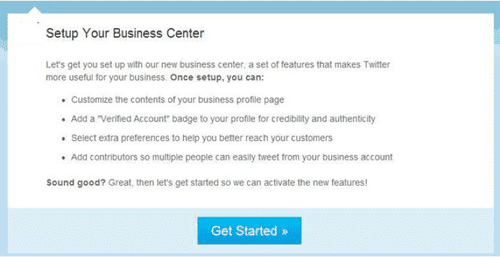 twitter setup your business center