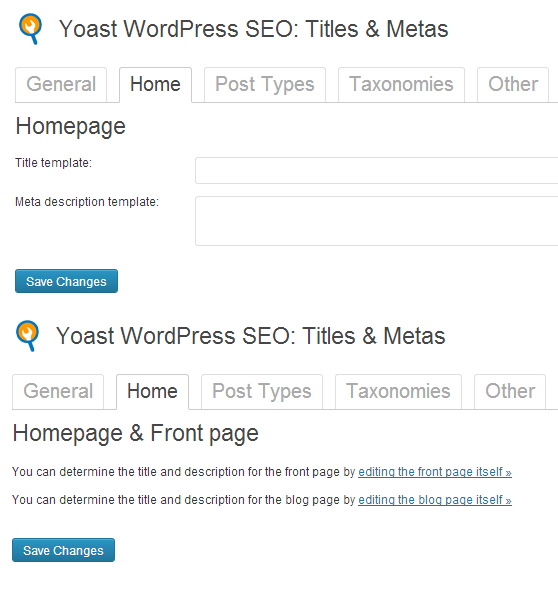Yoast WordPress SEO: Titles & Metas Home