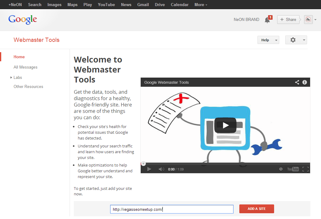 Webmaster Tools - Home