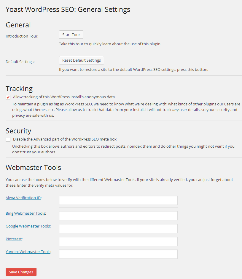 Yoast WordPress SEO General Settings
