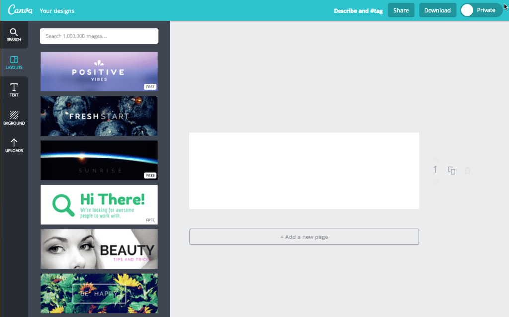 Email Header design on Canva Dashboard