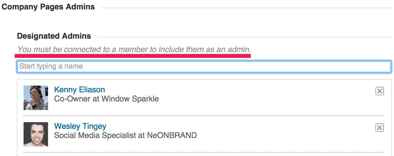 LinkedIn Add a Pages Admin