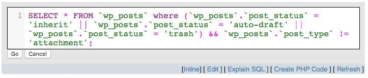 SELECT wp_posts where Post Status is Draft, Revision, or Trash