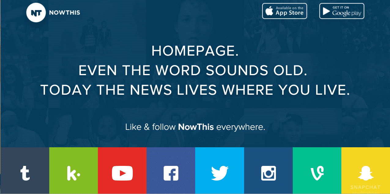 Now This Homepage - How Social Media and Web Design come together