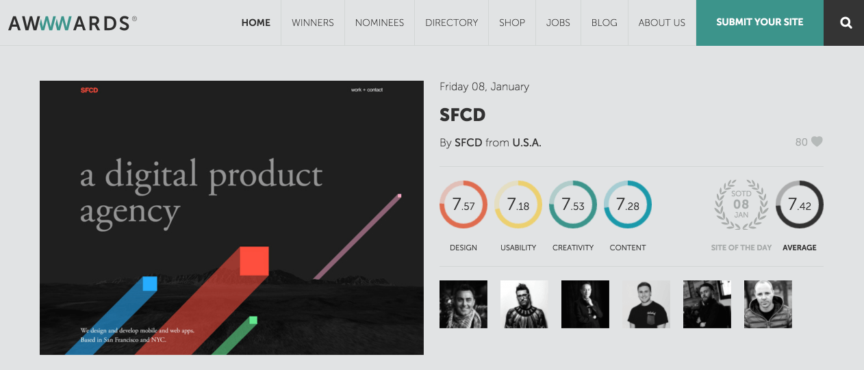 awwwards home page