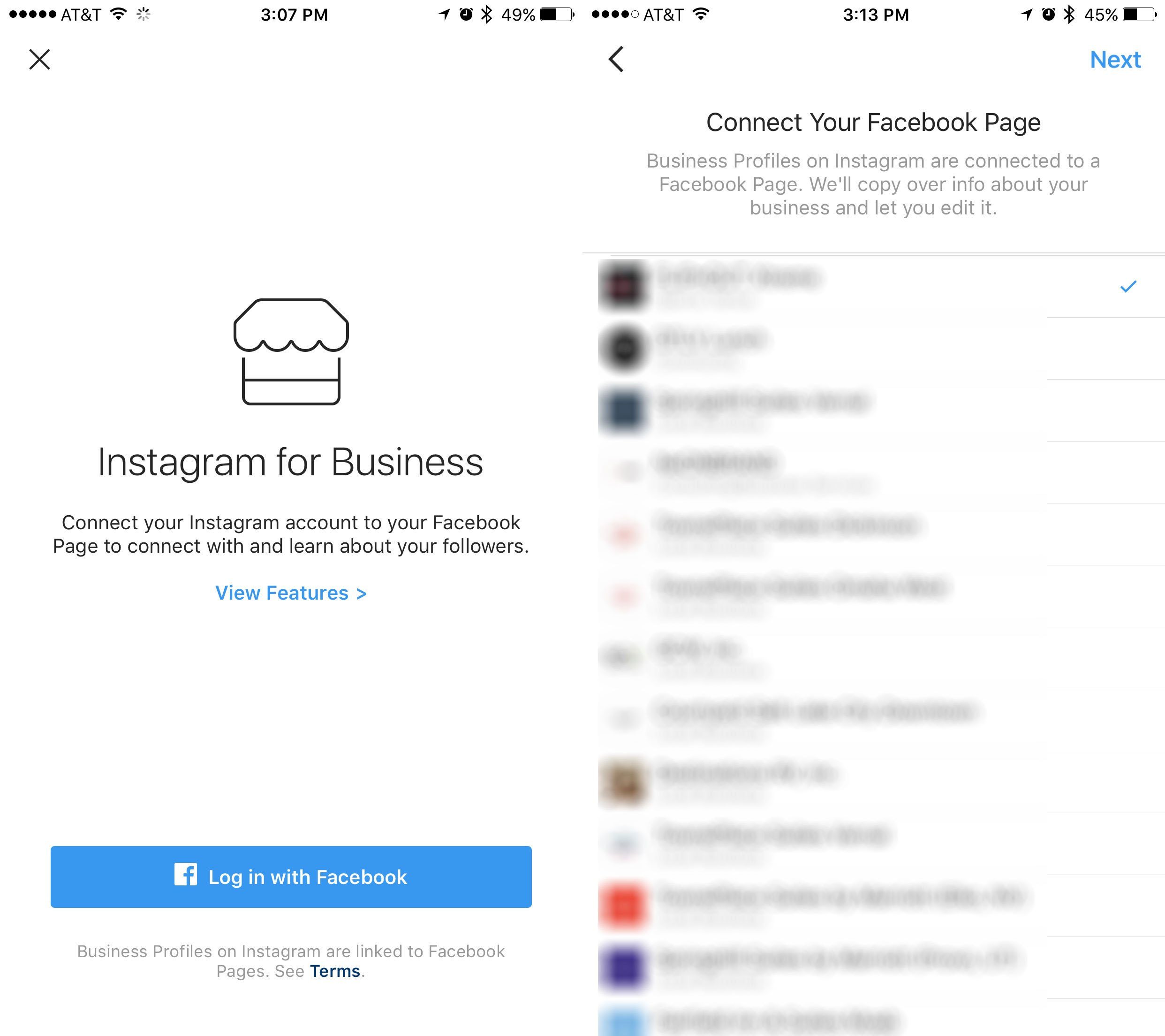 connect instagram for business to facebook page