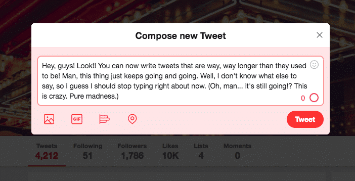 twitter expands character limit to 280 characters