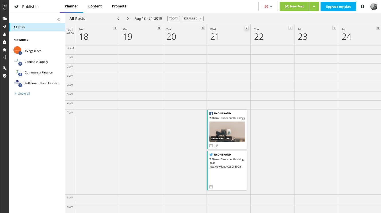 Hootsuite Calendar Planner View