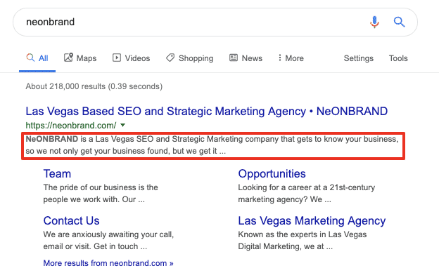 SEO Oversight: Meta Description in SERP